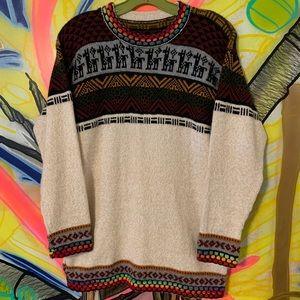 Vintage Alpaca Knitted Pattern Sweater Sz M
